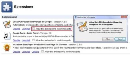 Extensiones incógnitas en Chrome