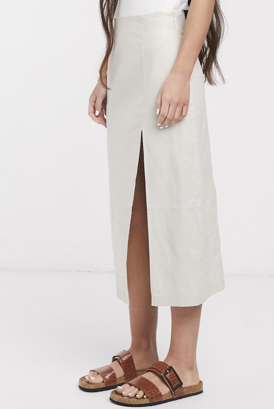 Falda midi de lino con abertura frontal de ASOS DESIGN