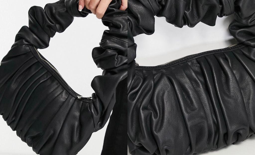 Bolso de hombro negro de cuero con diseño superfruncido de ASOS DESIGN