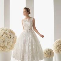 Vestido corto encaje novia rosa clará