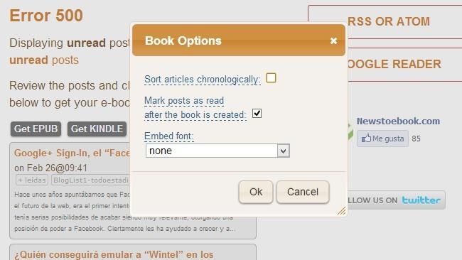 Conversión a EPUB de un feed de Google Reader