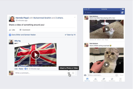 Facebook se actualiza y ahora permite responder comentarios con videos