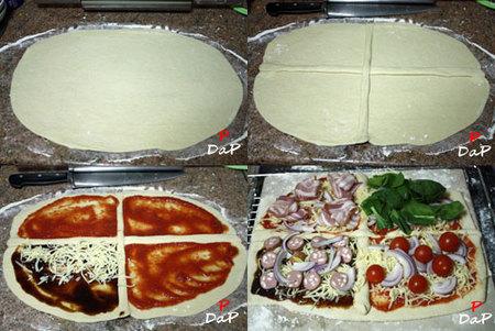Hacer pizza quattro gusti