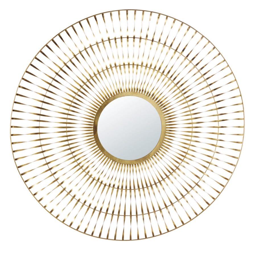 Espejo de metal dorado trenzado 131x129