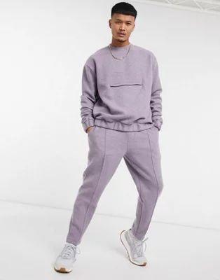 Joggers de vestir con pernera tapered, bajo fijo y pinzas de textura de efecto lana hervida de ASOS DESIGN