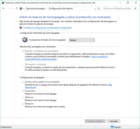 Arranque Rápido Windows 10