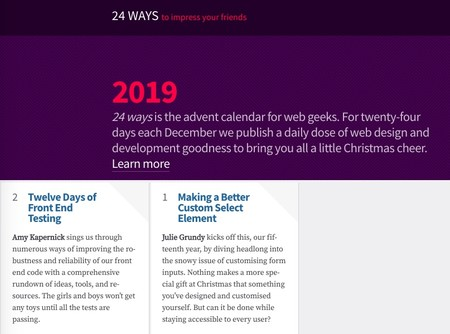Web Design And Development Articles And Tutorials For Advent 24 Ways