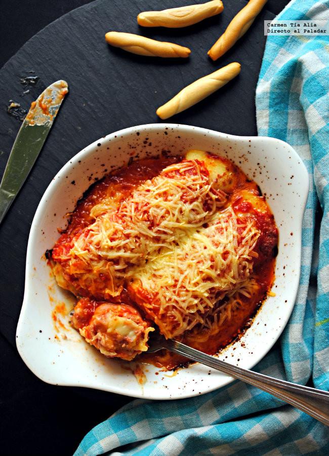 Canelones de jam n y patata receta express directo al for Comidas hechas en microondas