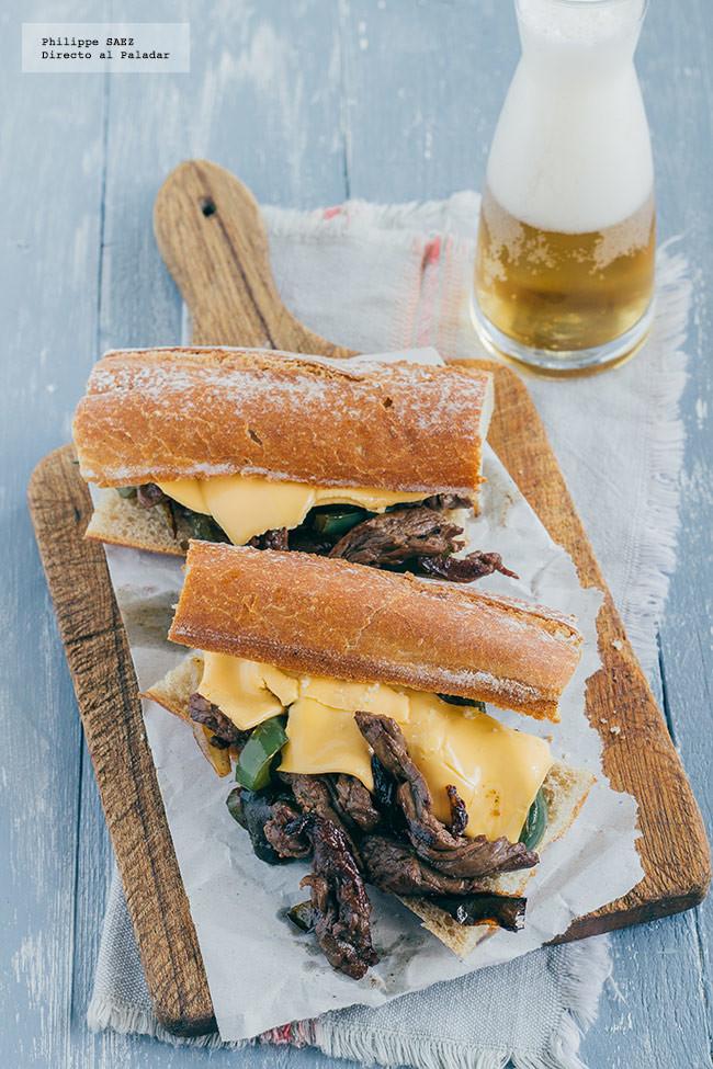 Sándwich de carne y queso estilo Philly. Receta