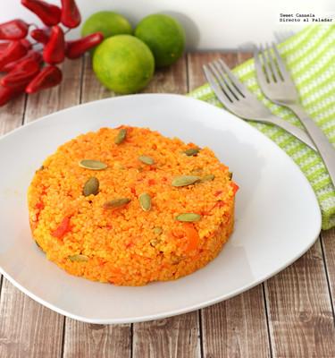 Cuscús de camote, zanahorias y pimientos. Receta