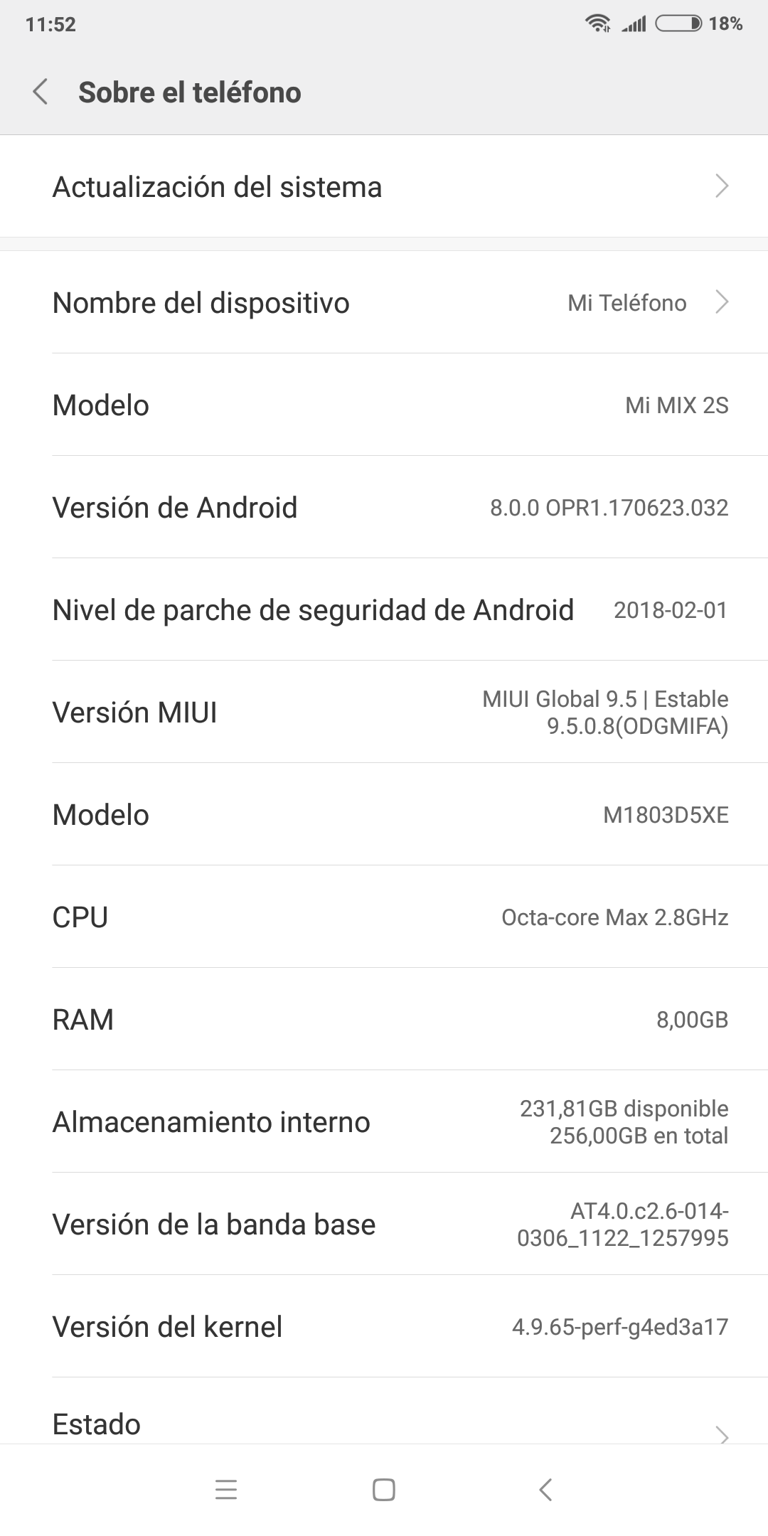 Foto de Xiaomi MI MIX 2S, capturas de pantalla de su software (11/20)