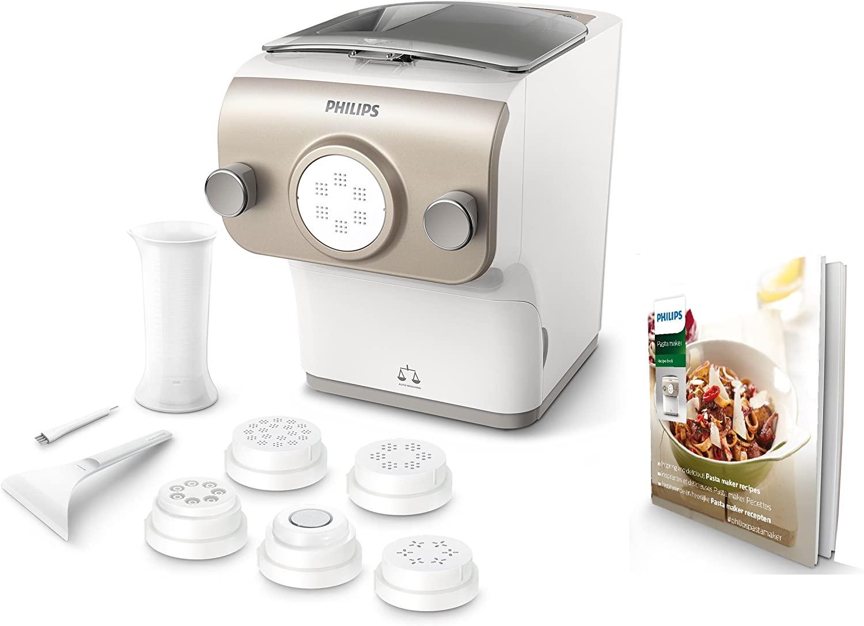 Philips HR2381/05 - Máquina para hacer pasta (200 W, totalmente automática, con función de pesaje y 6 discos de mold), color blanco y champán