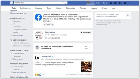 Facebook Aviso Coronavirus