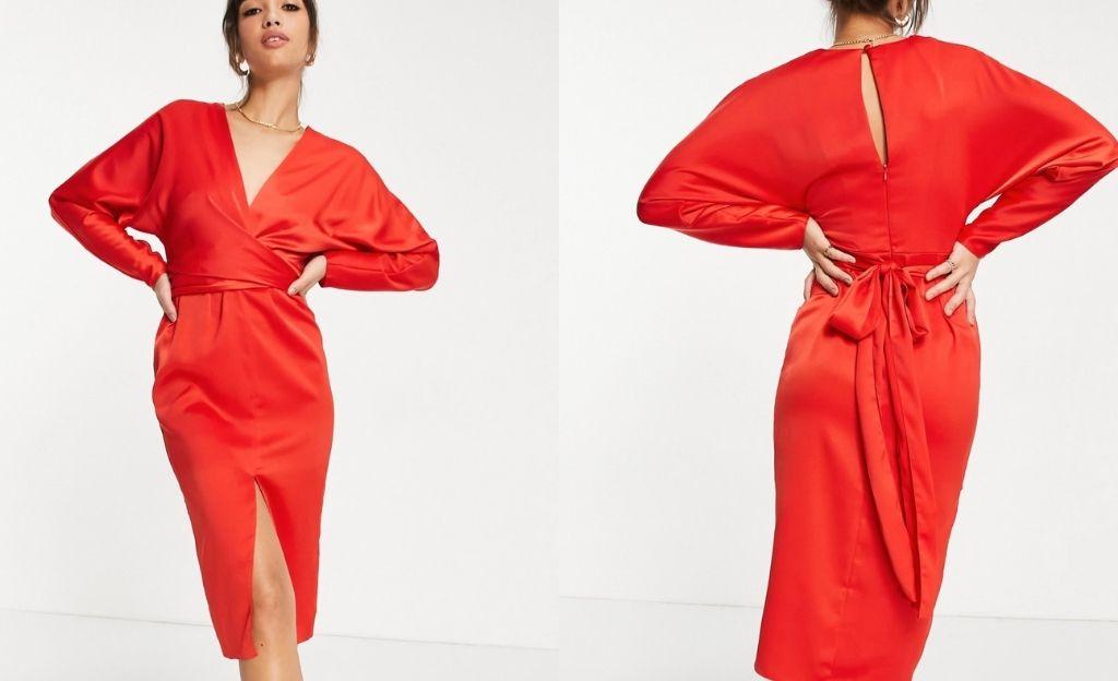 Vestido midi rojo con cintura cruzada y mangas murciélago de satén de ASOS DESIGN