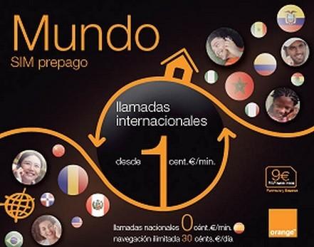 0 céntimos minutos con SIM Mundo de Orange