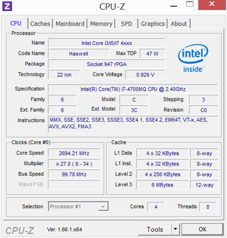 Alienware 14 CPUz