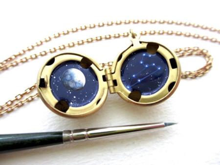 Miniature Astromony Oil Painting Jewelry Rustic Lockets Khara Ledonne 20