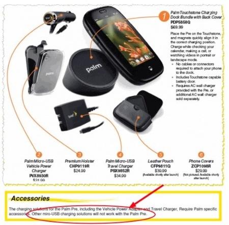 ¿Palm Pre usará un cargador MicroUSB que no es estándar?