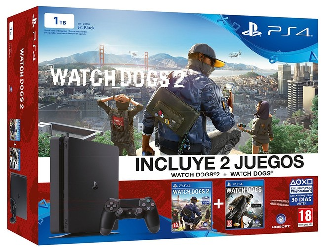PS4 Slim 1TB + Watch Dogs 2 + Watch Dogs