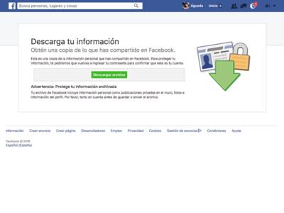 Cómo descargar tu contenido de Facebook