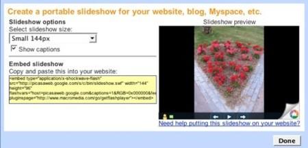 Picasa Slideshows para blogs y otros sitios web