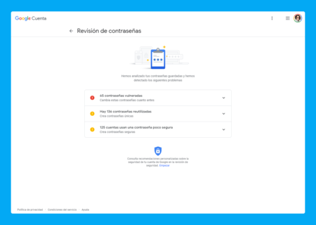 Resultados Google Password Chekup