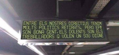 Cazadores de fakes: no, los paneles del metro de Barcelona no muestran mensajes acusadores durante la huelga