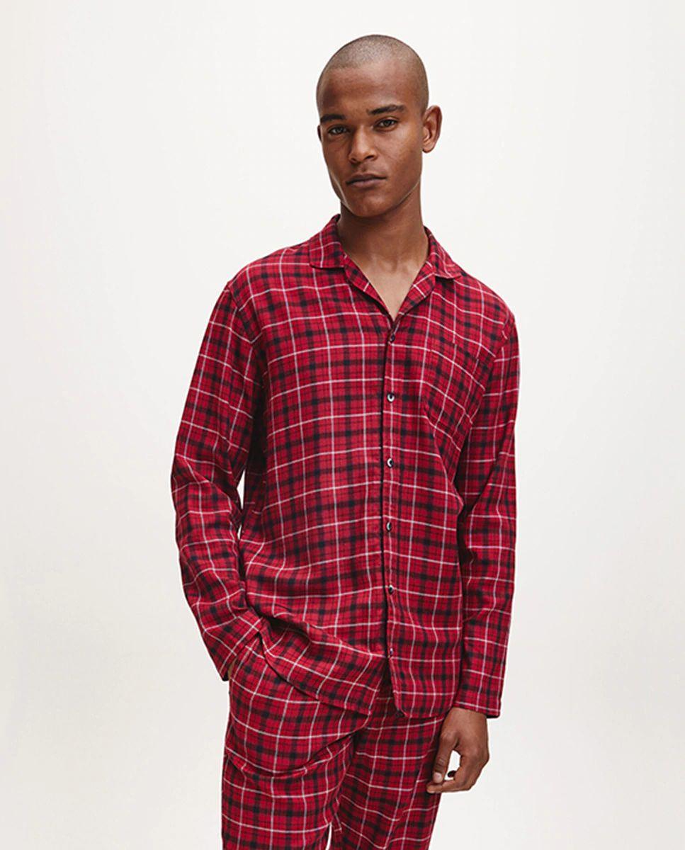Chaqueta de pijama de hombre color granate