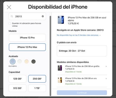 disponibilidad iPhone 13