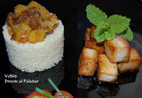 Tofu al limón y cuscús con mango y dátiles