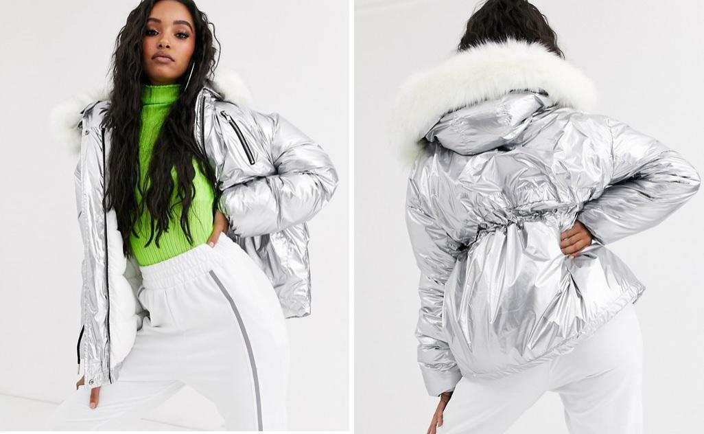 Chaqueta metalizada oversize con capucha de peluche