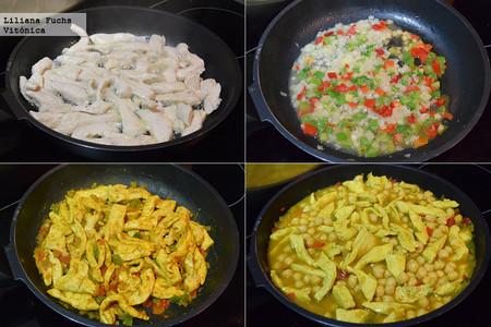 Curry rápido de pollo y garbanzos. Pasos