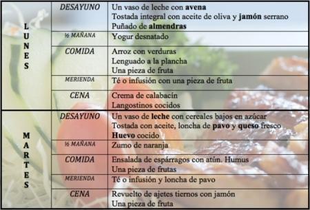 menu de dieta desayuno comida y cena