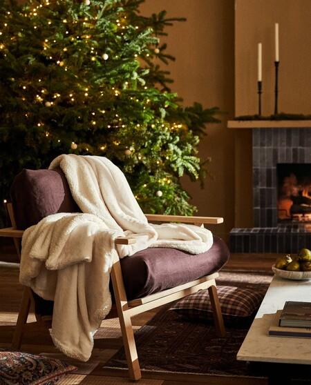 Manta De Pelo Sintetico De Navidad Con Borreguillo En El Interior