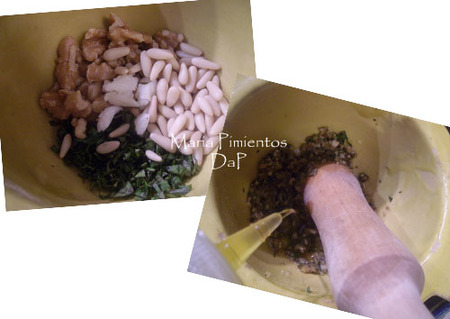 Receta de tallarines al pesto con nueces