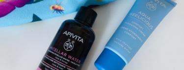 Esta es la crema hidratante y el agua micelar de Apivita que adoro por su frescura y llevaré conmigo este verano