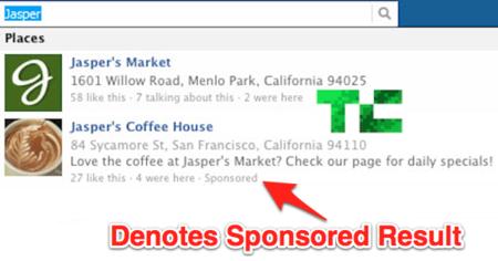 Facebook está probando un nuevo formato de anuncios en su buscador: Sponsored Results