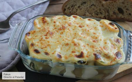 Canelones de espinacas gratinados