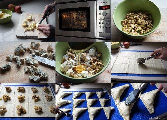 paso a paso empanadillas de manzana,nueces y gorgonzola