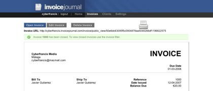 Invoice Journal, gestionando las facturas a través de la web