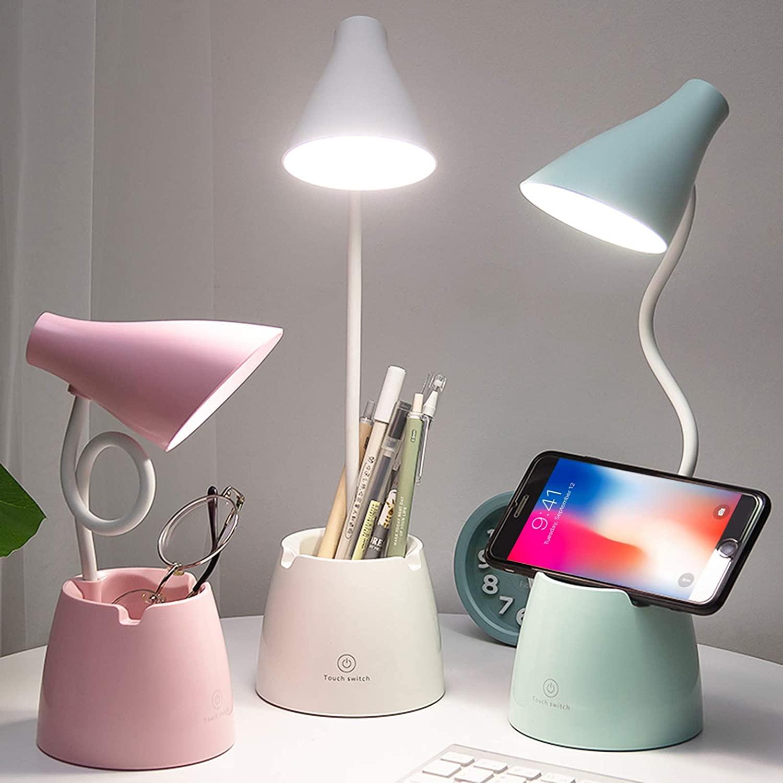 Lámpara escritorio, Flexo LED Escritorio con 3 Modos de Iluminación y 10 Niveles de Brillo, Rotación Regulable de 360 ° Para Leer, Estudiar, Trabajar (Blanco)