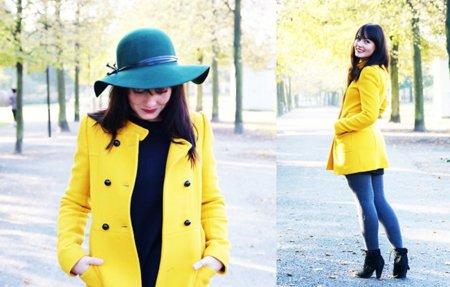 Amarillo abrigo Moda en la calle