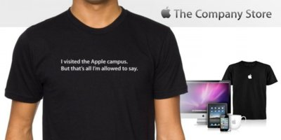Apple bromea sobre su secretismo con una camiseta de su tienda de recuerdos