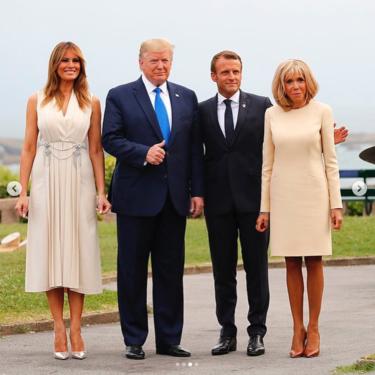 Melania Trump vuelve a encontrarse con Brigitte Macron, esta vez en Biarritz, con tonos similares y un claro look vencedor