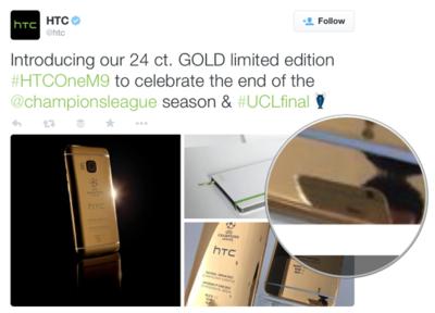 HTC sacándole fotos a su móvil dorado... con un iPhone. La imagen de la semana