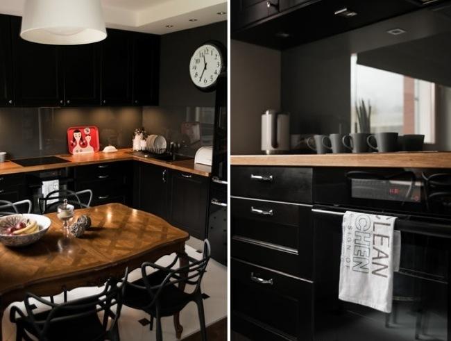 Un apartamento minimalista en colores oscuros for Color de paredes para muebles oscuros