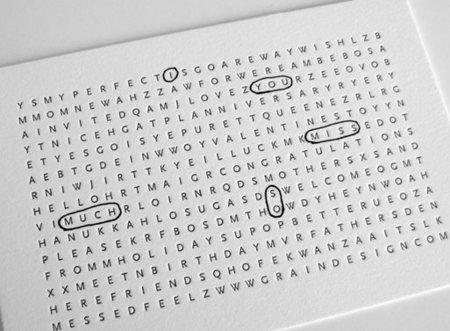 Tarjeta sopa de letras, para toda ocasión