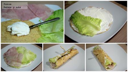 sandwiches enrollados paso a paso