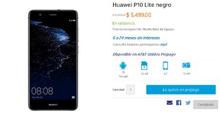 Huawei P10 Lite Att Mexico Precio