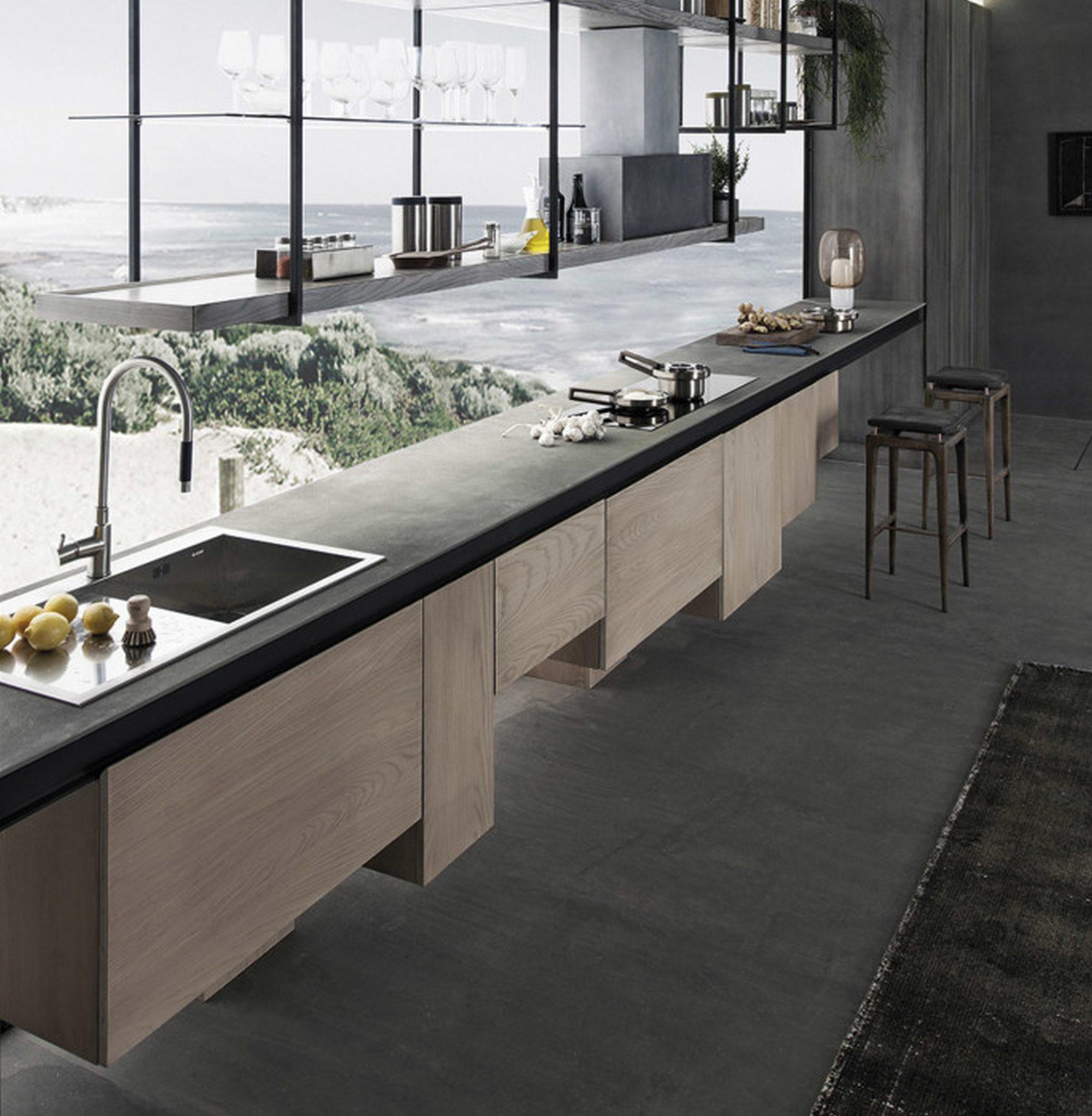 17 cocinas modernas con encimera de cemento - Material para cocinas modernas ...